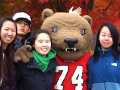 students and Big Red Bear